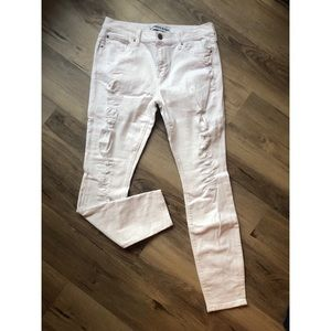 Express White distressed skinny jeans